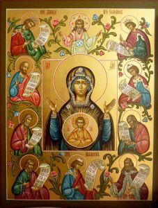 Рукописная икона Знамение Курская Коренная