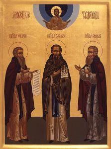 Рукописная икона Зосима, Савватий и Герман купить с доставкой