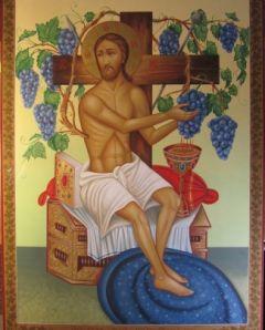 Рукописная икона Спас Сладкая Лоза купить с доставкой