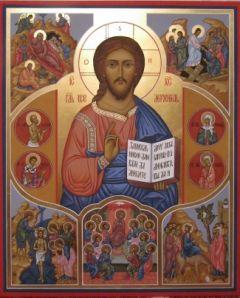 Рукописная икона Спаситель с клеймами купить с доставкой