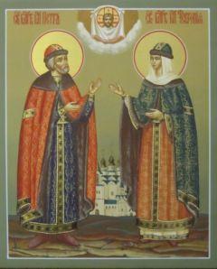 Рукописная икона Петр и Феврония 12 купить с доставкой