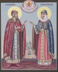 Рукописная икона Петр и Феврония 13 купить с доставкой