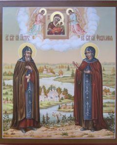 Рукописная икона Петр и Феврония 14 купить с доставкой