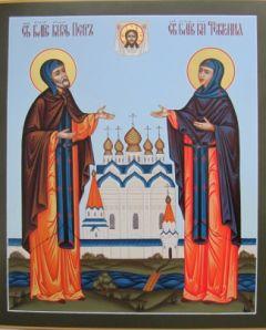 Рукописная икона Петр и Феврония 15 купить с доставкой