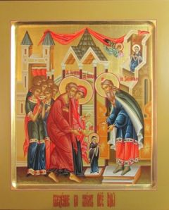 Рукописная икона Введение во Храм купить с доставкой