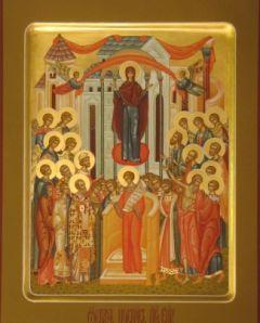 Рукописная икона Покров Божией Матери