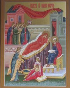Рукописная икона Рождество Богородицы купить с доставкой