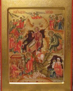 Рукописная икона Рождество Христово купить с доставкой