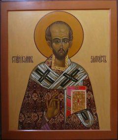 Рукописная икона Иоанн Златоуст