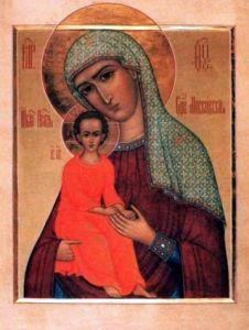 Рукописная икона Божией Матери Московская купить с доставкой