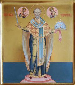 Рукописная икона Никола Можайский купить с доставкой