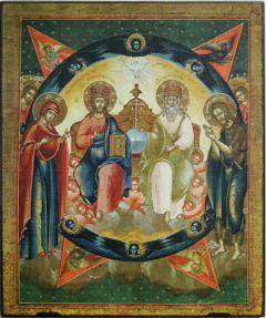 Рукописная икона Новозаветная Троица купить с доставкой