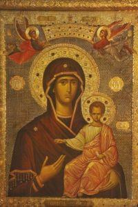 Рукописная икона Одигитрия Сумельская (Панагия Сумела) купить с доставкой