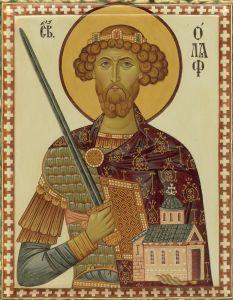 Рукописная икона Олаф Норвежский
