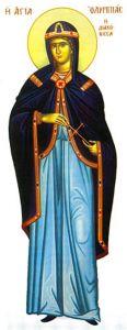 Рукописная икона Олимпиада Константинопольская купить с доставкой