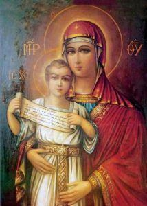 Рукописная икона Освободительница Элефтеротриа купить с доставкой