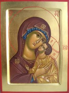 Рукописная икона Петровская Божия Матерь