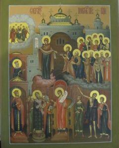 Рукописная икона Покров Божией Матери купить с доставкой