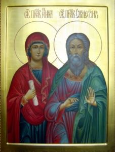 Рукописная икона Симеон и Анна купить с доставкой