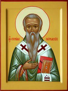 Рукописная икона Стефан Пермский купить с доставкой