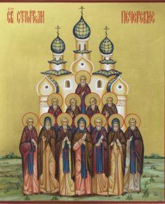 Рукописная икона Строители Печерские купить с доставкой