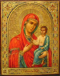 Рукописная икона Тихвинская