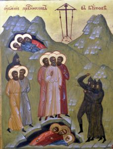 Рукописная икона Убиение праведников в Бутове купить с доставкой