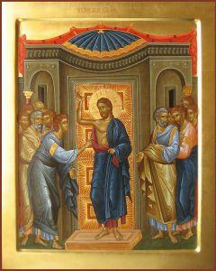 Рукописная икона Уверение Фомы купить с доставкой