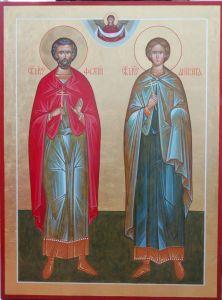 Рукописная икона Фотий и Аникита купить с доставкой