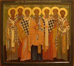 Рукописная икона Херсонесские святители купить с доставкой