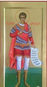 Рукописная икона Святой Александр Солунский купить с доставкой