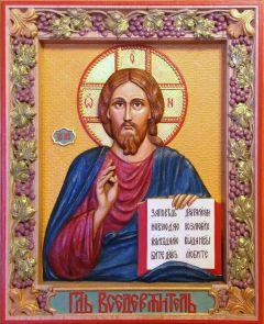 Резная икона Спас Вседержитель