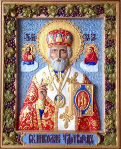 Резная икона Николай Чудотворец с голубым фоном купить с доставкой