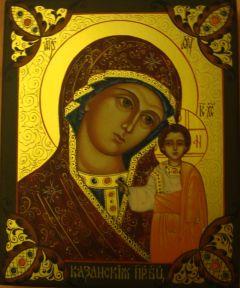 Рукописная икона Казанская Божия Матерь с узорами купить с доставкой