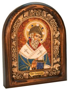 Икона из бисера Спиридон Тримифунтский 2 купить с доставкой