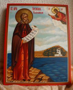 Рукописная икона Герман Аляскинский купить с доставкой