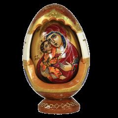 Пасхальное резное яйцо ручной работы Владимирская икона купить с доставкой
