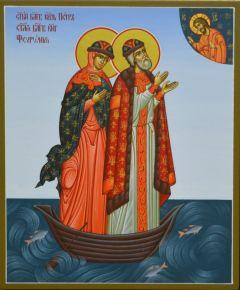 Рукописная икона Петр и Феврония в лодочке 33 купить с доставкой