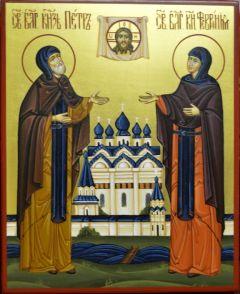 Рукописная икона Петр и Феврония на золоте 38 купить с доставкой