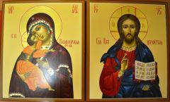Рукописная венчальная пара Владимирская икона и Спаситель купить с доставкой