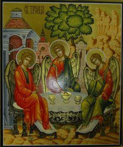 Рукописная икона Троица
