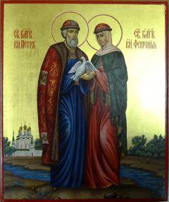Рукописная икона Петр и Феврония с голубями 28 купить с доставкой