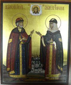 Рукописная икона Петр и Феврония княжеские облачения 32 купить с доставкой