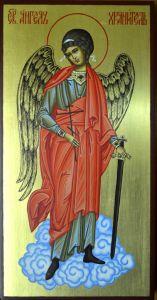 Рукописная икона Ангел Хранитель в полный рост купить с доставкой