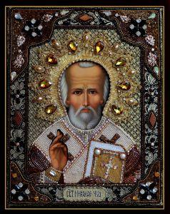 Икона Николай Чудотворец с окладом купить с доставкой