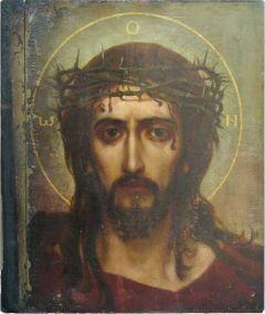 Рукописная икона Спас в терновом венце купить с доставкой