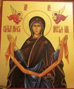 Рукописная икона Пояс Пресвятой Богородицы купить с доставкой