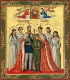 Рукописная икона Царская семья купить с доставкой