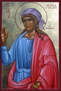 Рукописная икона Лидия Иллирийская мученица