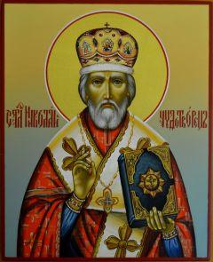 Рукописная икона Николая Чудотворца купить с доставкой